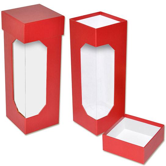 Коробка крышка-дно с окном под бутылку шампанского