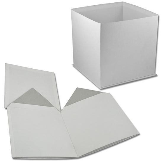 Белая коробка в форме куба для букета цветов (арт. КДЦ-01/1) Цена за шт – 168 руб.