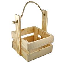 Деревянный ящик-корзина для цветов с веревочной ручкой