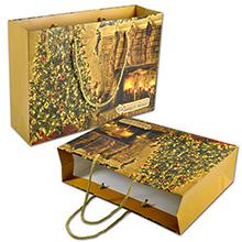 Новогодний подарочный пакет с полноцветной печатью
