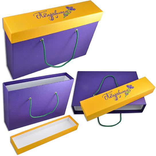 Прочная подарочная коробка-пакет на 8 марта с жестким дном