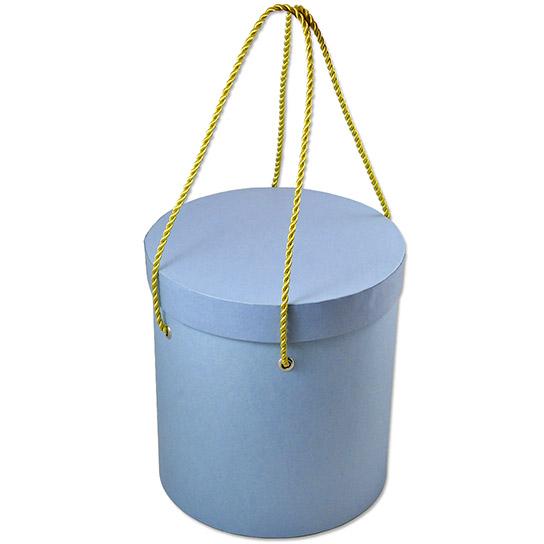 Круглая подарочная коробка с ручками из витого шнура