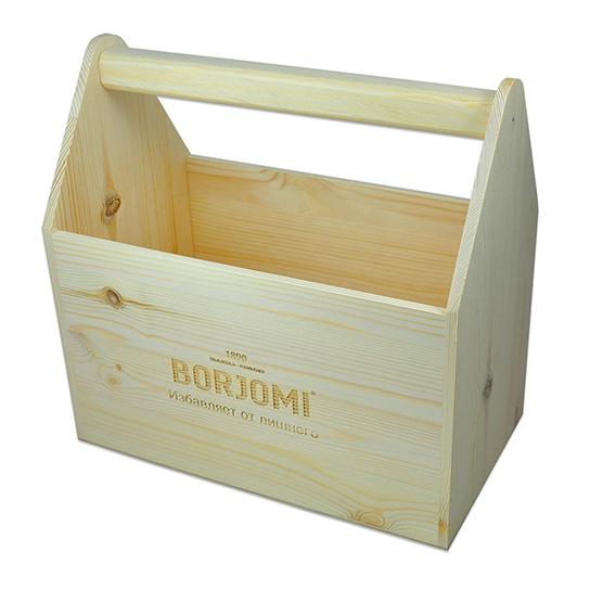 Деревянный ящик с лазерной гравировкой логотипа