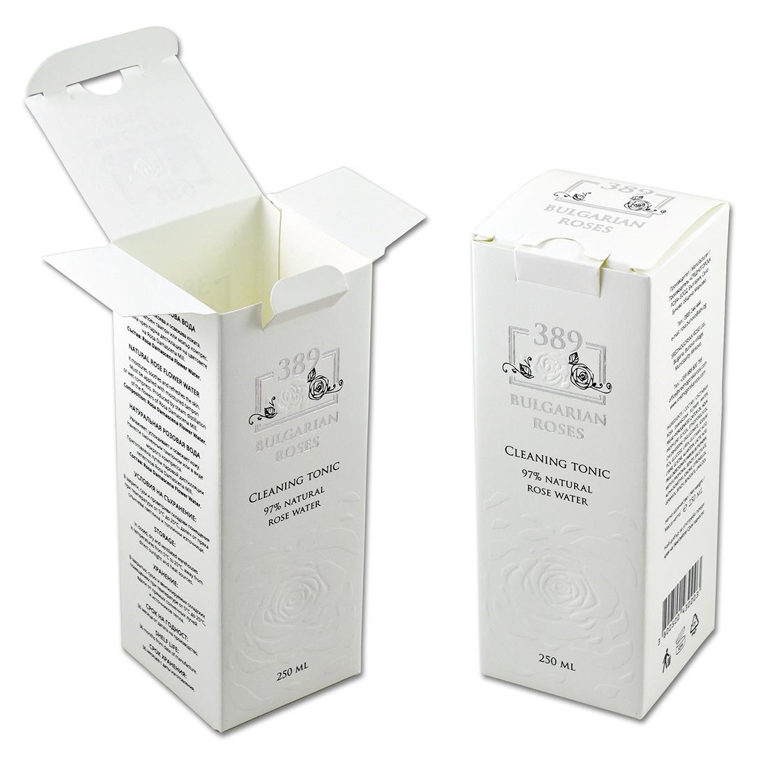 Упаковка из дизайнерского картона под болгарскую розовую воду