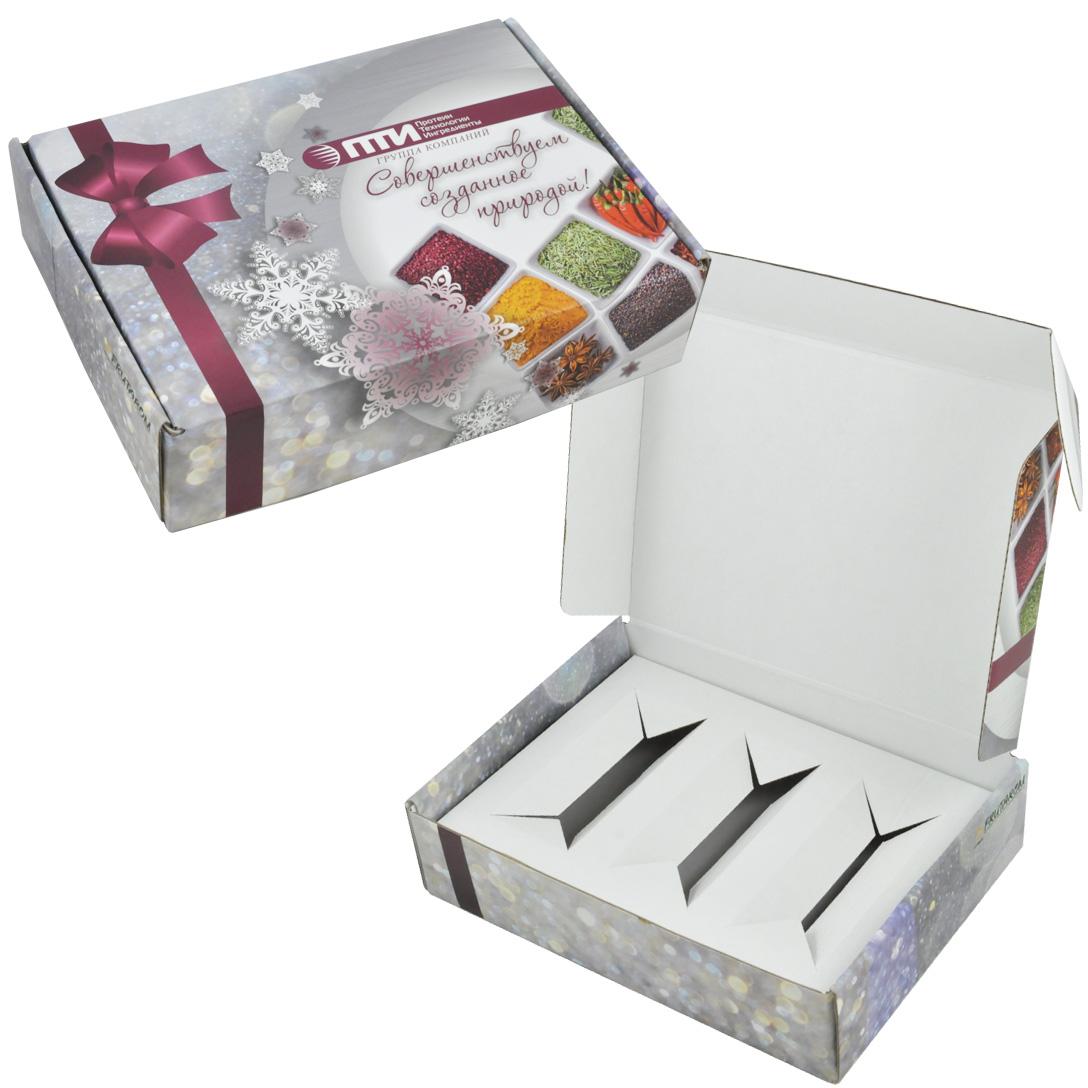 Коробка из микрогофрокартона, кашированного полиграфическим лайнером 4+0
