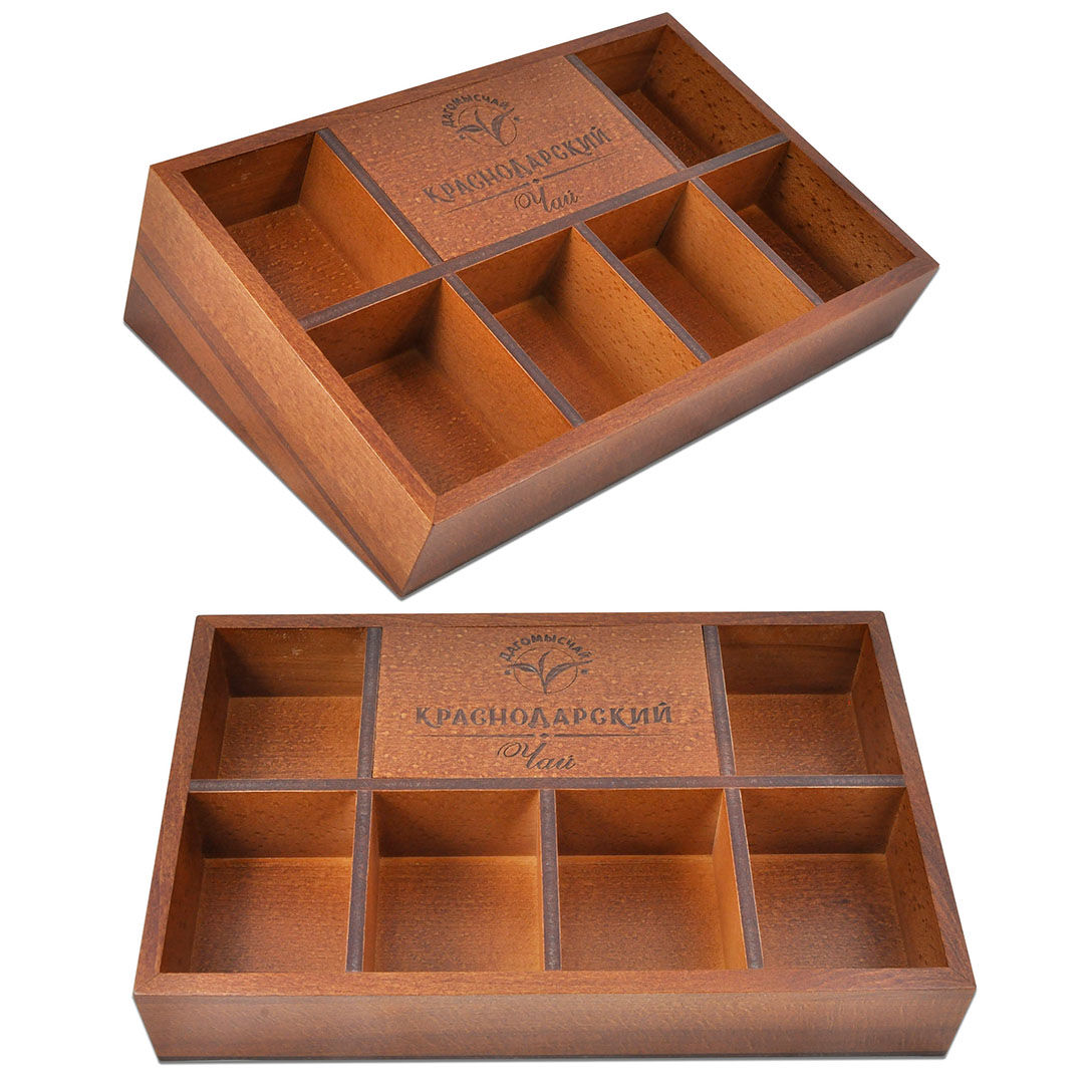 Деревянный ящик с отделениями для чайных пакетиков