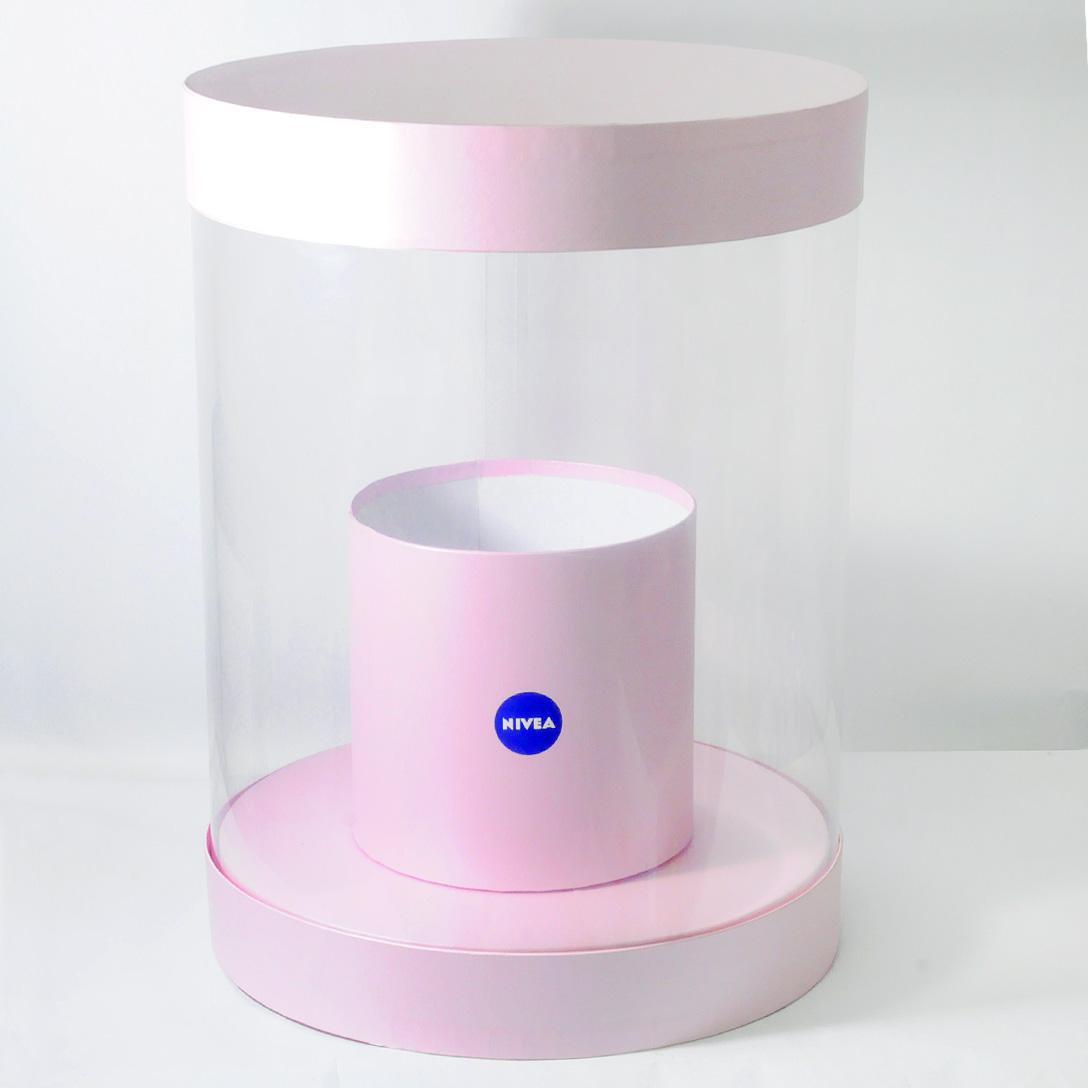 Круглая коробка с подиумом для рекламы продукции