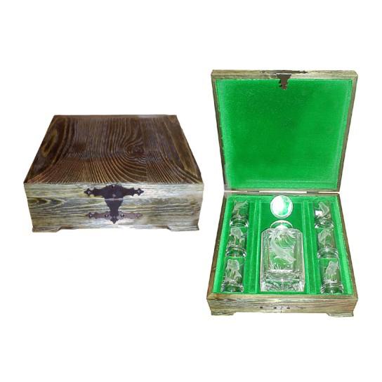 Подарочный деревянный короб под хрустальный набор