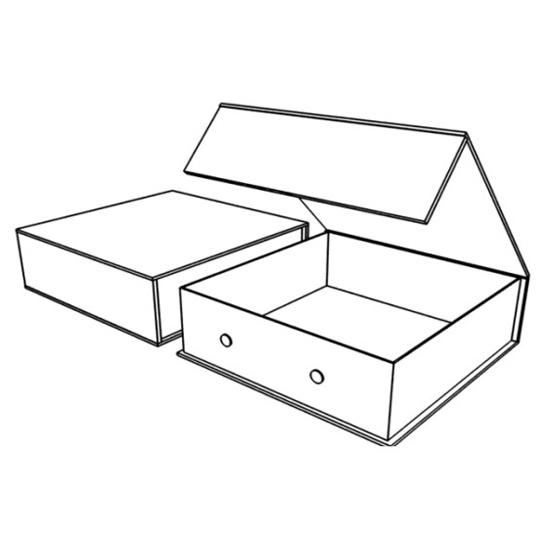 Подарочная коробка с передним клапаном и фиксатором (магнит, липучка, кнопка, лента)